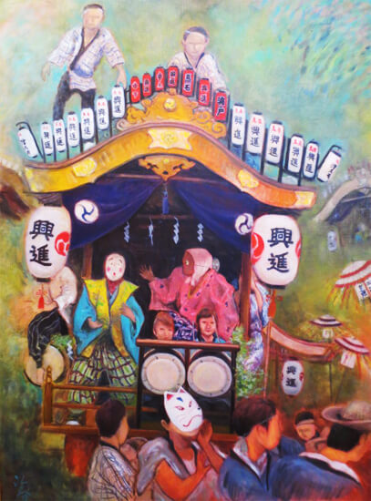 祭りの刻(油彩、F30 910×727cm、¥100,000 額なし)