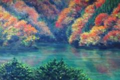 宮ケ瀬湖錦秋(油彩、F8 455×380cm、¥60,000 額なし)