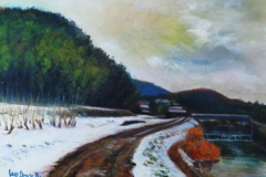 荻野川雪景(油彩、F4 333×242cm、¥30,000 額なし)